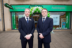 Durector's Adam Gordon and Ian Hobson, at the official opening of the new Specsavers store at 70 St John Road, Corstorphine, Edinburgh.