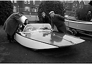 09/03/1964<br /> 03/09/1964<br /> 09 March 1964<br /> Third Irish Boat Show Opening Day at the R.D.S. Grounds, Ballsbridge, Dublin. Picture shows amateur boat builder, Mr Derry McCarthy (left) of Whitfield, Fortmary Road, Limerick with his Hydro Dynamic Boat built in three months at the Limerick Boat Club, an entry in the Esso Boat Show Competition. In the picture are (l-r): Mr Derry McCarthy; Mrs D. McCarthy (at wheel of boat); their son Jim, who assisted in the building of the boat and Mr Tom Meagher, also of Limerick.