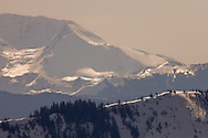 Mount Tahoma Trail's High Hut and Mount St Helens, in the Cascade Mountain Range, Washington, USA