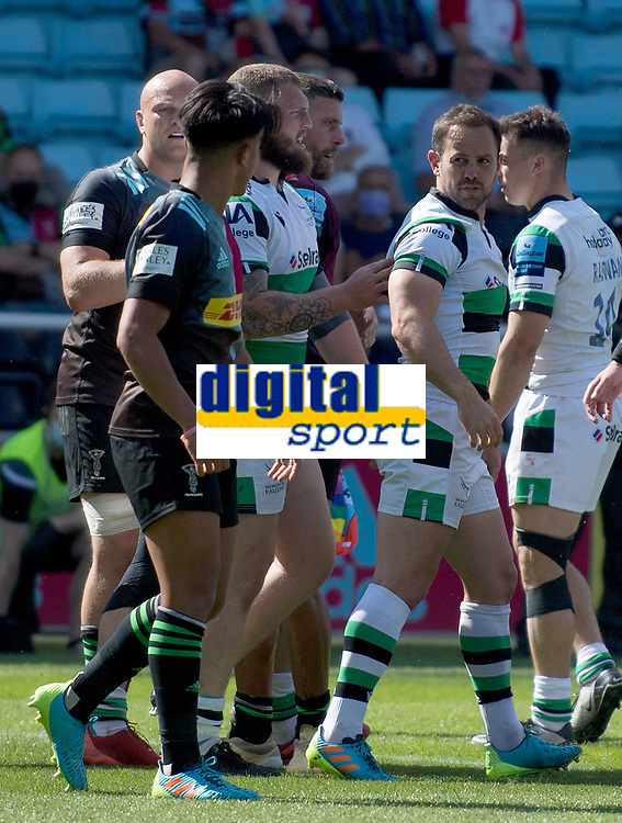 Rugby Union -2020/2021 Gallagher Premiership - Round 22 -<br />Harlequins vs Newcastle Falcons - The Stoop<br /><br />A disagreement during play