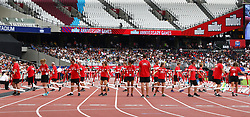 July 22, 2018 - London, United Kingdom - Volunteers putting the Hurdles.during the Muller Anniversary Games IAAF Diamond League Day Two at The London Stadium on July 22, 2018 in London, England. (Credit Image: © Action Foto Sport/NurPhoto via ZUMA Press)