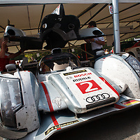 Audi R18 e-tron quattro has its rear fitted again at the Goodwood Festival of Speed 2013
