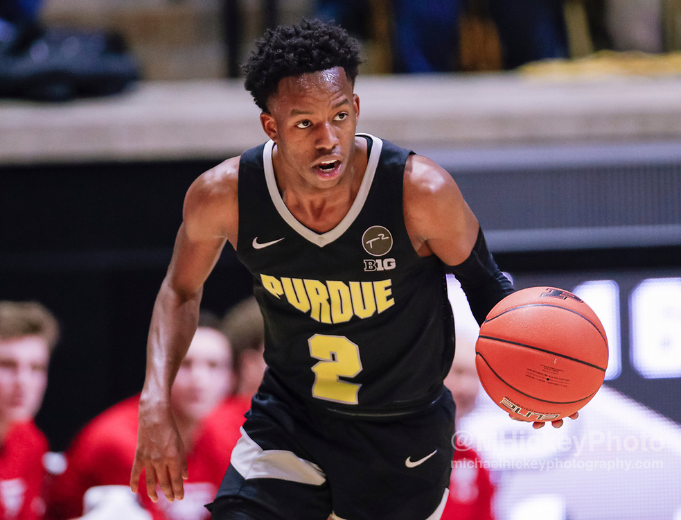 WEST LAFAYETTE, IN - JANUARY 24: Eric Hunter Jr. #2 of the Purdue Boilermakers brings the ball up court during the game against the Wisconsin Badgers at Mackey Arena on January 24, 2020 in West Lafayette, Indiana. (Photo by Michael Hickey/Getty Images) *** Local Caption *** Eric Hunter Jr.
