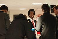 Fotball<br /> 23. November 2014<br /> 1. kvalifiseringskamp til Tippeligaen 2015<br /> Brann Stadion<br /> Brann - Mjøndalen<br /> Amin Askar , Brann er den store syndebukken med en grusom tverrsover pasning som førte til 0 - 1 målet<br /> Foto Astrid M. Nordhaug