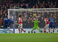 Football - 2019 / 2020 Premier League - Chelsea vs. Arsenal<br /> <br /> Bernd Leno (Arsenal FC) makes an easy save from the heafer by Tammy Abraham (Chelsea FC) at Stamford Bridge <br /> <br /> COLORSPORT/DANIEL BEARHAM