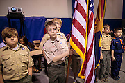 04 JULY 2012 - PHOENIX, AZ:  Members of Boy Scout Troop 244 before posting the colors at a naturalization ceremony in Phoenix Wednesday. About 250 people, from 62 countries, were naturalized as US citizens during the 24th Annual Fiesta of Independence naturization ceremony at South Mountain Community College in Phoenix Wednesday. The ceremony was presided over by the Honorable Roslyn O. Silver, Chief United States District Court Judge.   PHOTO BY JACK KURTZ