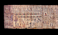 Ancient Egyptian Book of the Dead papyrus - Ptolemaic Period (722-30BC).Turin Egyptian Museum.  Black background .<br /> <br /> If you prefer to buy from our ALAMY PHOTO LIBRARY  Collection visit : https://www.alamy.com/portfolio/paul-williams-funkystock/ancient-egyptian-art-artefacts.html  . Type -   Turin   - into the LOWER SEARCH WITHIN GALLERY box. Refine search by adding background colour, subject etc<br /> <br /> Visit our ANCIENT WORLD PHOTO COLLECTIONS for more photos to download or buy as wall art prints https://funkystock.photoshelter.com/gallery-collection/Ancient-World-Art-Antiquities-Historic-Sites-Pictures-Images-of/C00006u26yqSkDOM