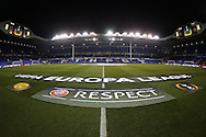 a general view showing the Official UEFA banners on the pitch before k/o. UEFA Europa League round of 16, 2nd leg match, Tottenham Hotspur v Borussia Dortmund at White Hart Lane in London on Thursday 17th March 2016<br /> pic by John Patrick Fletcher, Andrew Orchard sports photography.