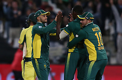 JP Duminy of South Africa and David Miller of South Africa congratulate Kagiso Rabada of South Africa for bowling Mitchell Marsh of Australia during the 5th ODI match between South Africa and Australia held at Newlands Stadium in Cape Town, South Africa on the 12th October  2016<br /> <br /> Photo by: Shaun Roy/ RealTime Images