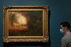 "© Licensed to London News Pictures. 26/10/2020. LONDON, UK. ""The Hero of a Hundred Fights"", 1800-10, by JMW Turner. Preview of ""Turner's Modern World"", a new landmark exhibition of over 150 works exhibition by JMW Turner at Tate Britain, 28 October to 7 March 2021.  Photo credit: Stephen Chung/LNP"