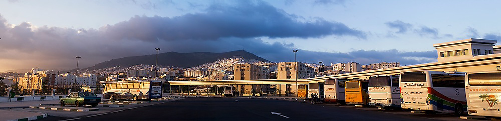 View of the city from the new long-distance bus station in Tetouan, Morocco.