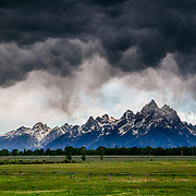 Blowing clouds, thunderstorm and wind at sunset in Grand Teton National Park Wyoming.