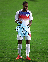 England's Raheem Sterling warms up before the UEFA Nations League match at Stadion HNK Rijeka in Croatia.