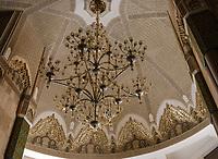 CASABLANCA, MOROCCO - CIRCA APRIL 2017: Detail of chandelier at the Mosque Hassan II  in Casablanca.