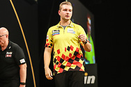 Dimitri Van den Bergh hits a double during the 2018 Grand Slam of Darts at Aldersley Leisure Village, Wolverhampton, United Kingdom on 16 November 2018. Picture by Shane Healey.