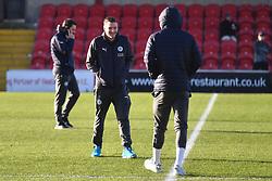 Leicester City's Jamie Vardy (centre) and Demarai Gray (right) on the pitch