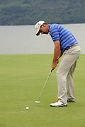28-7-2011: Padraig Harrington sinks a putt on the first green at the Irish Open in Killarney on Thursday..Picture by Don MacMonagle