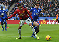 Football - 2018 / 2019 Premier League - Leicester City vs. Manchester United<br /> <br /> Jesse Lingard of United tussles with Harry Maguire, at The King Power Stadium.<br /> <br /> COLORSPORT/ANDREW COWIE