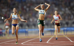 NANJING, Aug. 25, 2014  Gold medalist Gezelle Magerman (2nd,R) of South Africa celebrates victory after women's 400m hurdles final at the Nanjing 2014 Youth Olympic Games in Nanjing, east China's Jiangsu Province, Aug. 25, 2014. (Credit Image: © Xinhua via ZUMA Wire)