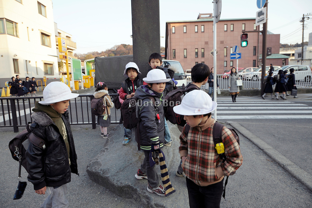 public school children hanging around on their way home Kamakura Japan