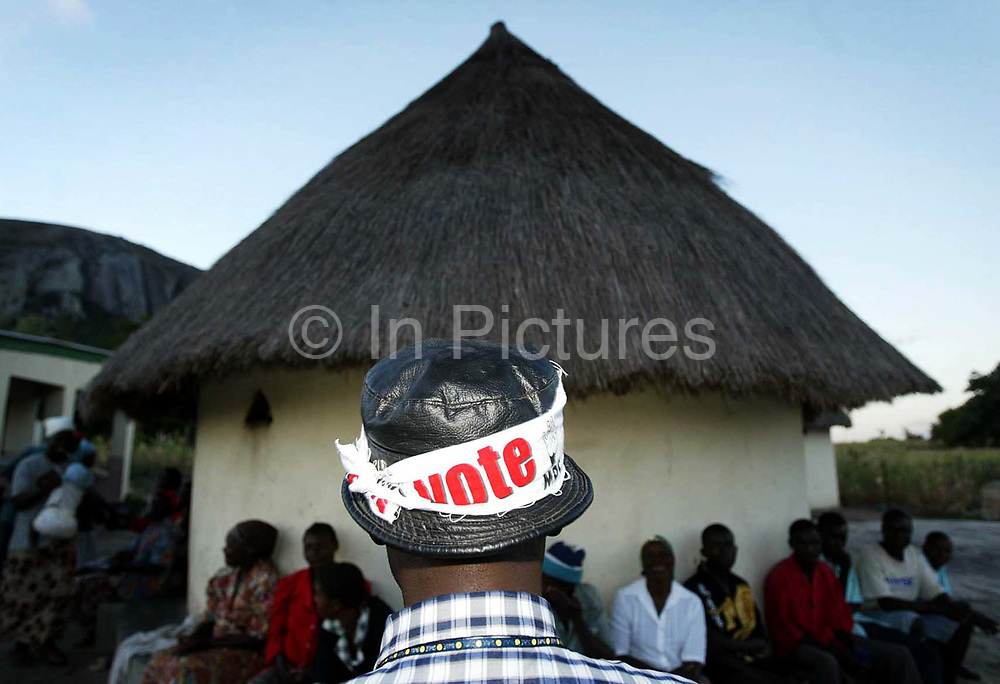 MDC Candidate for Makoni East constituency in Manicaland Piesha talks to constituents during campaigning in his constituency during the Zimbabwe elections.