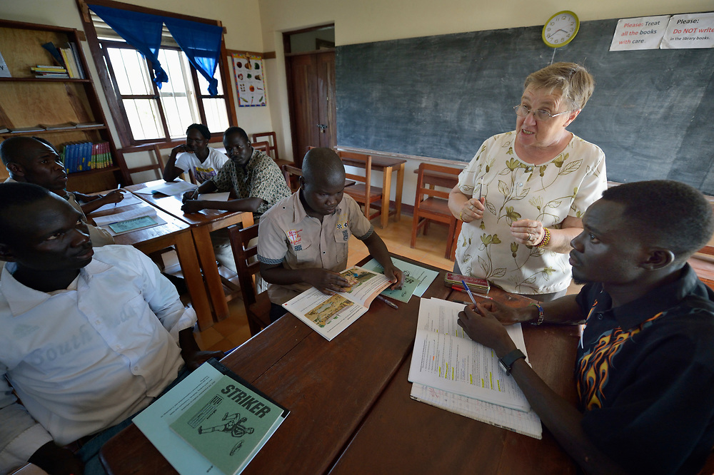 Sister Margaret Sheehan teaches a class at the Solidarity Teacher Training College in Yambio, South Sudan. Run by Solidarity with South Sudan, an international network of Catholic organizations supporting the development of the world's newest country, the College trains teachers from throughout the nation. Sheehan is from Ireland and is a member of the Faithful Companions of Jesus.