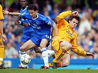Photo: Scott Heavey, Digitalsport.<br /> Chelsea v Everton. FA Barclaycard Premiership. 17/04/2004.<br /> Filipe Oliveira (L) holds off the challenge from Kevin Kilban