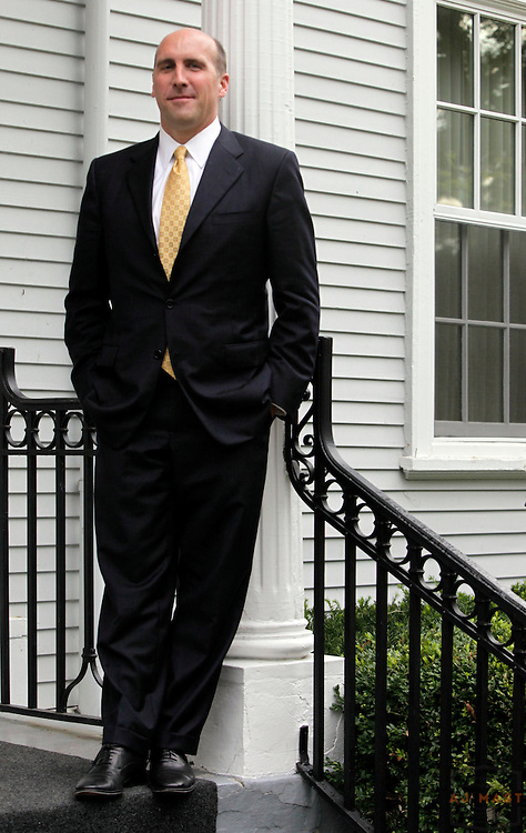 DePauw president Brian Casey poses for a portrait in front of his home in Greencastle, Ind., Thursday, Oct. 1, 2009. (Photo by AJ Mast )
