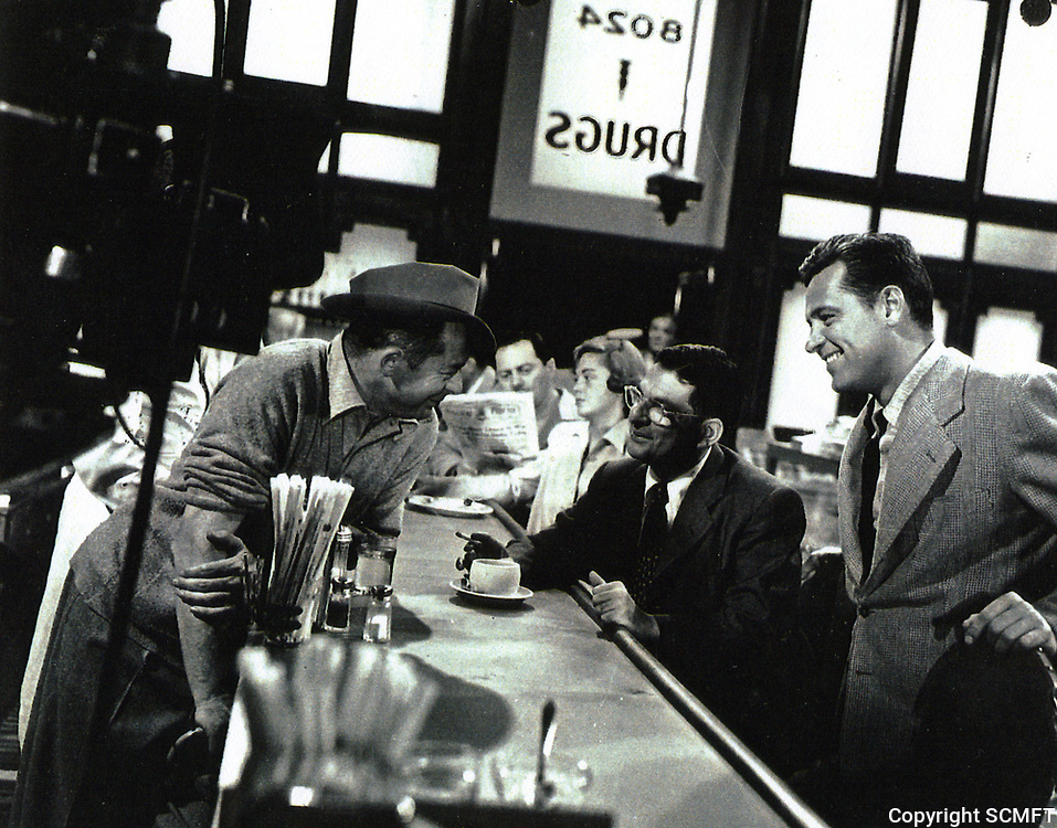 1949 William Holden, during the filming of Sunset Blvd. at Schwab's Drugstore