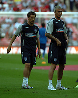 Photo: Tony Oudot.<br /> England v Brazil. International Friendly. 01/06/2007.<br /> David Beckham and Michael Owen of England warm up before the game