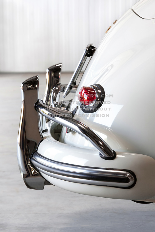 Image detail of a Pure White 1959 Porsche 356A with a sunroof in Camarillo, California, America west coast