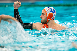 Pascal Janssen of the Netherlands in action against France during the Olympic qualifying tournament. The Dutch water polo players are on the hunt for a starting ticket for the Olympic Games on February 17, 2021 in Rotterdam