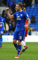 Joe Ralls of Cardiff City celebrates at the full time whistle - Mandatory by-line: Nizaam Jones/JMP - 17/02/2018 -  FOOTBALL - Cardiff City Stadium - Cardiff, Wales -  Cardiff City v Middlesbrough - Sky Bet Championship