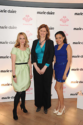 Left to right, TRISH HALPIN editor of Marie Claire, SARAH BROWN and DIONNE BROMFIELD at a party to promote Marie Claire magazine Inspire & Mentor Campaign held at The Loft, The Ivy Club, West Street, London on 30th March 2010.