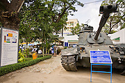 09 MARCH 2006 - HO CHI MINH CITY, VIETNAM: An American M48 tank on display at the War Remnants Museum in Ho Chi Minh City (Saigon), the former capital of South Vietnam. The War Remnants Museum displays American weapons and material captured by North Vietnamese and Viet Cong forces during the US war in Vietnam.  PHOTO BY JACK KURTZ