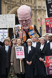 © Licensed to London News Pictures. 07/03/2014. Westminster, London, UK. Maxine Peake (2nd from left) joins lawyers in a protest against government-proposed legal aid cuts on Old Palace Yard as part of the Save UK Justice campaing. Photo credit : David Tett/LNP
