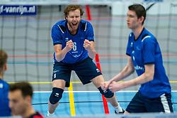 Bart Yark of Sliedrecht Sport in action during the quarter cupfinal between Taurus vs. Sliedrecht Sport on April 02, 2021 in sports hall De Kruisboog, Houten