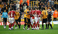 Photo: Steve Bond/Sportsbeat Images.<br />Wolverhampton Wanderers v Bristol City. Coca Cola Championship. 03/11/2007. Tempers flare and Darren Byfield is booked