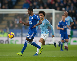 Ricardo Pereira of Leicester City (L) and Leroy Sane of Manchester City in action - Mandatory by-line: Jack Phillips/JMP - 26/12/2018 - FOOTBALL - King Power Stadium - Leicester, England - Leicester City v Manchester City - English Premier League