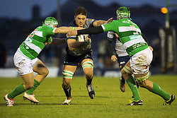 December 3, 2016 - Galway, Ireland - Quinn Roux of Connacht tackled by Luca Bigi and Marco Fuser of Benetton during the Guinness PRO12 Round 10 match between Connacht Rugby and Benetton Treviso at the Sportsground in Galway, Ireland on December 3, 2016  (Credit Image: © Andrew Surma/NurPhoto via ZUMA Press)