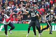 Jacksonville Jaguars quarterback, Gardner Minshew (15) during the NFL game between Houston Texans and Jacksonville Jaguars at Wembley Stadium in London, United Kingdom. 03 November 2019