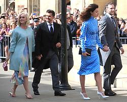Katy Perry and Orlando Bloom (left, centre left) arriving at York Minster for the wedding of singer Ellie Goulding to Caspar Jopling.