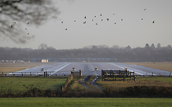 © Licensed to London News Pictures. 20/12/2018. London, UK. Birds fly near the runway as four vehicles check the surface at Gatwick airport. Flights have been cancelled and thousands of passengers have been delayed after the airport closed due to two drones being spotted nearby. Photo credit: Peter Macdiarmid/LNP