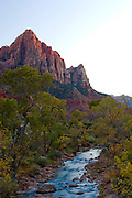 View of Watchman Tower and the Virgin River at Sunset in Zion National Park, Utah.
