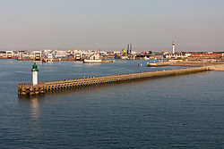 View of lighthouse and port, Calais, France