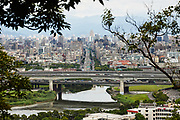 Looking down on the city of Taipei from a viewpoint along the Jiantanshan hiking trail.