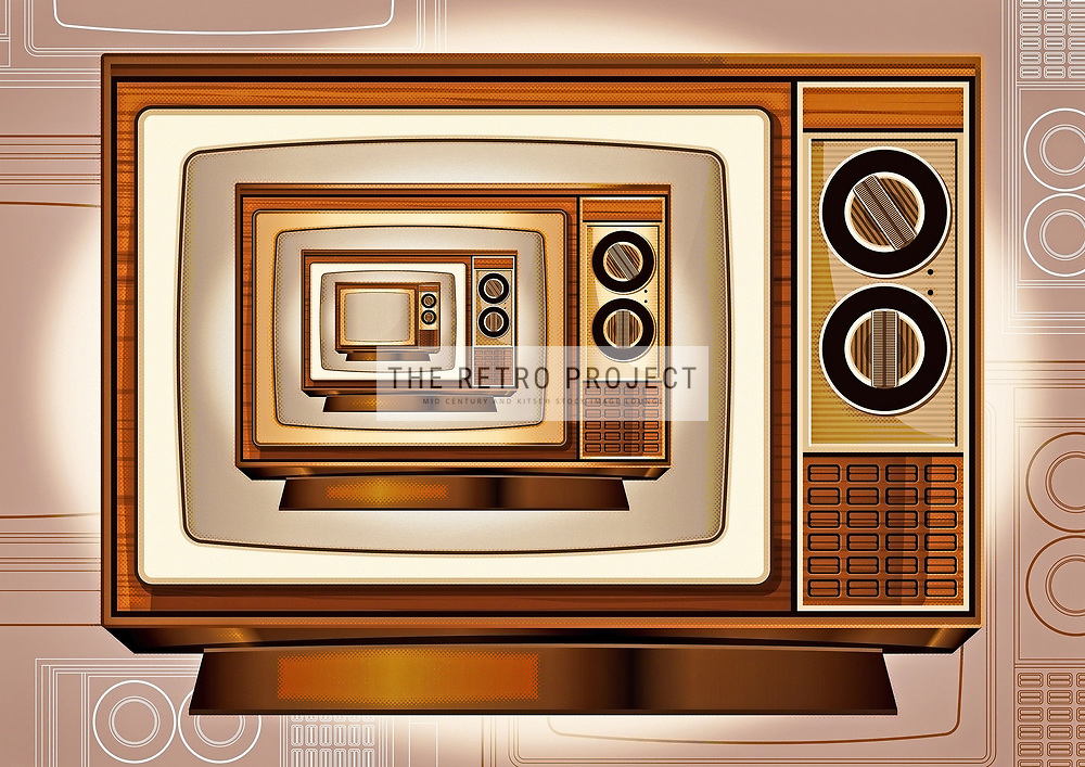 Vintage Television Repeat Textured Line Art retro illustration with grainy finish and aged look in sepia, browns and golds.