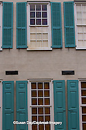 66512-00118 Teal shutters on old building, Charleston, SC