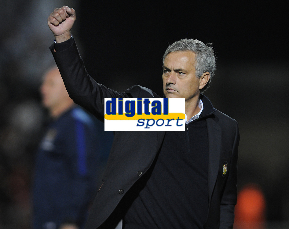 Football - 2016 / 2017 EFL League Cup - 3th round Northampton town v Manchester United<br /> <br />  Manchester United Manager Jose Mourinho thinks they have scored goal no . 2 in the first half at Sixfields Stadium<br /> <br /> <br /> Credit : Colorsport / Andrew Cowie