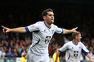 Bury's Danny Nardiello celebrates after scoring his sides third goal. Skybet football league two match, Bury v Burton Albion at the JD Stadium, Gigg Lane in Bury, Lancs on Saturday 20th Sept 2014.<br /> pic by David Richards,  Andrew Orchard sports photography.